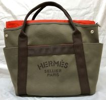 HERMES Garden Party Canvas A4 Plain Handbags