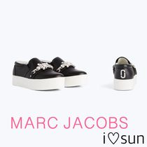 MARC JACOBS Platform Round Toe Studded Chain Plain Leather Office Style
