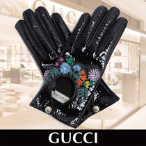 GUCCI Flower Patterns Plain Leather Leather & Faux Leather Gloves