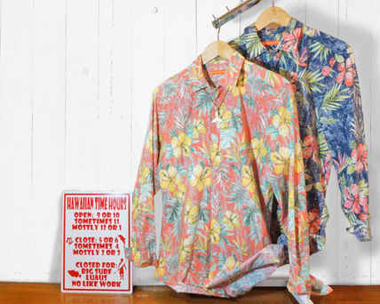 Flower Patterns Tropical Patterns Long Sleeves Cotton Shirts