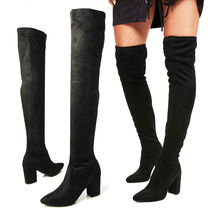 Suede Plain Elegant Style Chunky Heels Over-the-Knee Boots