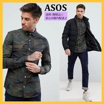ASOS Button-down Camouflage Denim Street Style Long Sleeves
