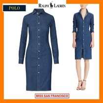 Ralph Lauren Casual Style Denim Long Sleeves Plain Medium Shirt Dresses
