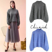 Chicwish High-Neck With Jewels Puff Sleeves Sweaters