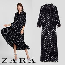 ZARA Dots Cropped Long Office Style Shirt Dresses Dresses