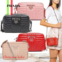 PRADA DIAGRAMME Small Diagramme Shoulder Bag (Rosso Red/Pesco Pink/Black)