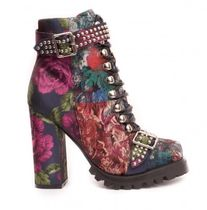 Jeffrey Campbell Flower Patterns Plain Toe Lace-up Casual Style Leather