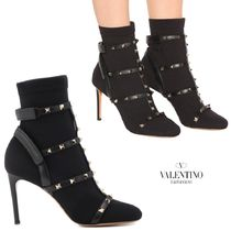 VALENTINO Plain Toe Studded Plain Leather Pin Heels High Heel Boots