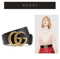 GUCCI GG Marmont Unisex Blended Fabrics Street Style Leather Belts