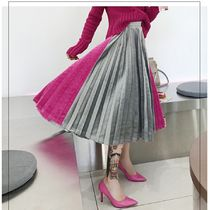 Pleated Skirts Bi-color Plain Long Party Style Maxi Skirts