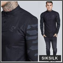 SikSilk Camouflage Street Style Long Sleeves Plain Cotton