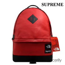 Supreme Street Style Collaboration A4 Plain Leather Backpacks