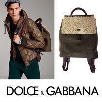 Dolce & Gabbana Lambskin A4 2WAY Khaki Backpacks