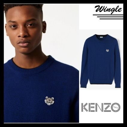 KENZO Knits & Sweaters Crew Neck Long Sleeves Plain Cotton Knits & Sweaters