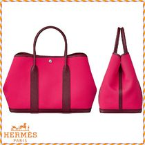 HERMES Garden Party Blended Fabrics 2WAY Leather Elegant Style Totes