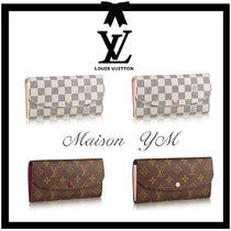 Louis Vuitton DAMIER AZUR Monogram Calfskin Long Wallets