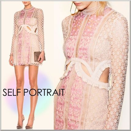 Short Flower Patterns Tight Long Sleeves High-Neck Lace