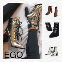 EGO Lace-up Casual Style Plain Block Heels Lace-up Boots