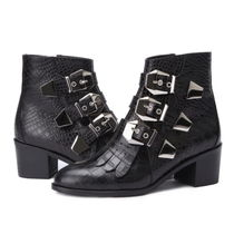 SUECOMMA BONNIE Round Toe Studded Street Style Other Animal Patterns Leather