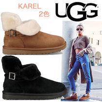 UGG Australia Round Toe Casual Style Sheepskin Bi-color Plain Wedge Boots