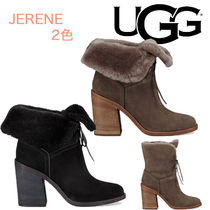 UGG Australia Round Toe Suede Bi-color Plain Block Heels Party Style