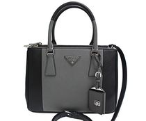 PRADA Grey & Black Bi-Color Saffiano Small Galleria Handbag