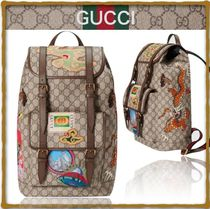 GUCCI Unisex Canvas Street Style Handmade Backpacks