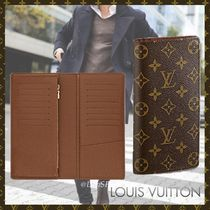 Louis Vuitton BRAZZA Monogram Canvas Blended Fabrics Street Style Bi-color