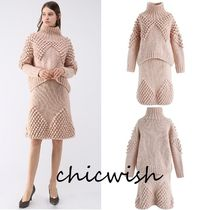Chicwish Casual Style Tight Studded Long Sleeves Plain Medium Dresses