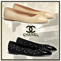 CHANEL Round Toe Suede Elegant Style Ballet Shoes