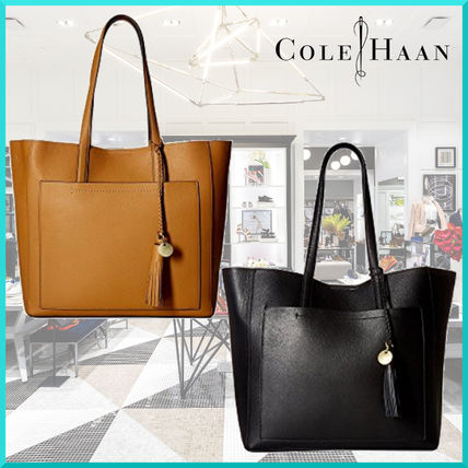 A4 Plain Leather Fringes Office Style Totes