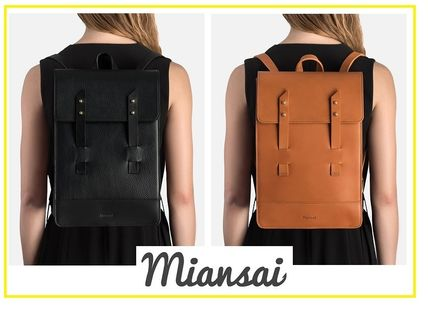 A4 Plain Leather Handmade Elegant Style Backpacks