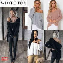 WHITE FOX Casual Style Wool V-Neck Long Sleeves Plain Medium Sweaters