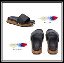 BUSCEMI Open Toe Rubber Sole Casual Style Plain Leather Slippers