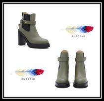 BUSCEMI Casual Style Plain Leather Block Heels Chelsea Boots