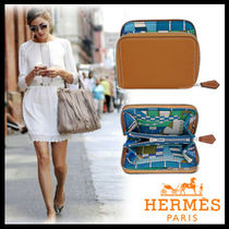 HERMES Blended Fabrics Plain Leather Coin Purses
