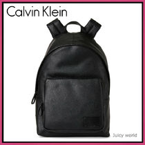 Calvin Klein Casual Style A4 Plain Leather Backpacks