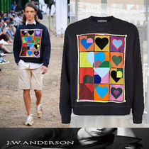 J W ANDERSON Crew Neck Pullovers Heart Long Sleeves Cotton Sweatshirts