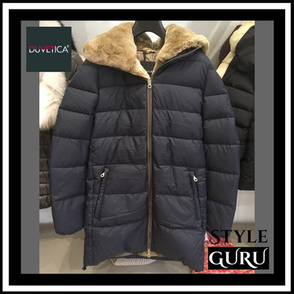Fur Plain Medium Down Jackets