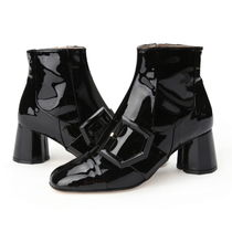 SUECOMMA BONNIE Stripes Round Toe Street Style Plain Leather Block Heels