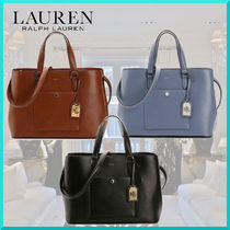 Ralph Lauren A4 2WAY Plain Leather Office Style Totes