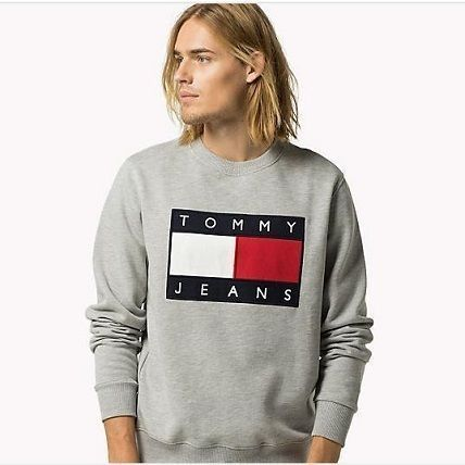 Tommy Hilfiger Sweatshirts Crew Neck Unisex Street Style Long Sleeves Cotton 4