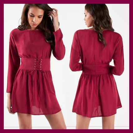 Crew Neck Short Casual Style Long Sleeves Plain Dresses