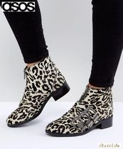 ASOS Round Toe Casual Style Other Animal Patterns Leather