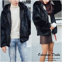 Short Unisex Faux Fur Plain Parkas