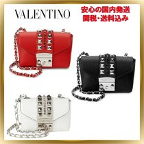 VALENTINO Studded 2WAY Plain Leather Elegant Style Shoulder Bags