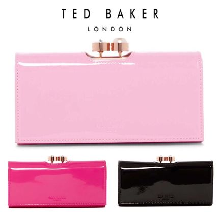 Plain Leather With Jewels Long Wallets