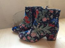 Primark Flower Patterns Round Toe Elegant Style Chunky Heels