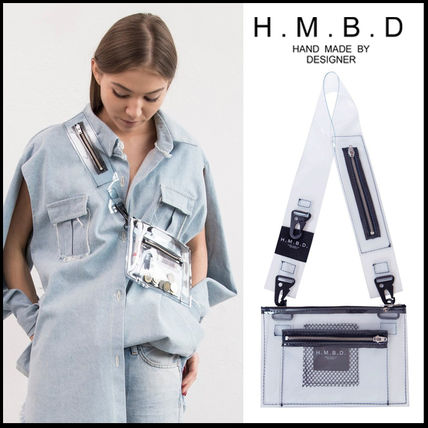 Casual Style Bi-color Plain Crystal Clear Bags Shoulder Bags