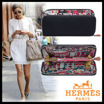 HERMES Silk In Blended Fabrics Plain Leather Long Wallets